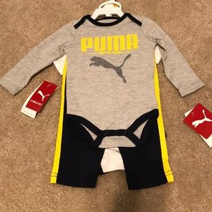 Size 0-3 NWT 3 Piece PUMA Set in Yell/Blk/Grey 😍